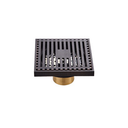 Brass electroplating online shopping - Copper Brass Bath Shower Drain Matte Black Floor Drain Square Anti Odor Waste Grates Home Bathroom Drainer lw bb