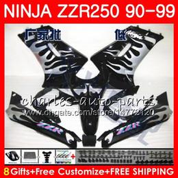 1993 kawasaki fairing online shopping - Bodywork For KAWASAKI NINJA ZZR ZZR250 HM Black ZZR Silver flames Fairing kit