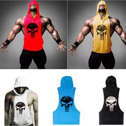 a31b09f0fb46e 2018 New Summer Running Vests Sportwear Men Gym Clothing Bodybuilding  Sleeveless Pocket Hoodie Tank Top Muscle Skull Hooded