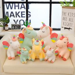 9135704283a 40cm Cartoon Unicorn Plush Doll Kids Rainbow Little Horses Soft Stuffed  Animal Toy Unicorn Doll 4 Colors Party Favor AAA1285