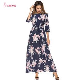 95e9dec21 2018 ropa de verano para mujeres Imprimir Midi manga larga vestido de  Oriente Medio vestido maxi femenino tallas grandes vestidos tallas grandes