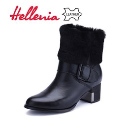 $enCountryForm.capitalKeyWord NZ - Hellenia Leather kid suede Ankle Boots Women Fashion heels Warm Spring Winter shoes Wool Fur Classic Shoe Round Toe Boot