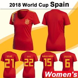 Spain Soccer team online shopping - 2018 World Cup Women Soccer Jersey Spain National Team SILVA S ASENSIO Home Red Girl Football Shirts ISCO MORATA Short Sleeve Lady Jerseys