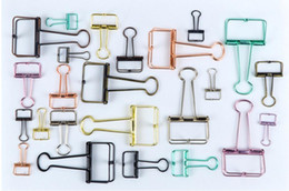 Discount file binder wholesale - 3 Size Metal Wire Binder Clips, Office Supplier School Accessories, Colorful Hollow Out Paper Organizer, Multicolor Pape