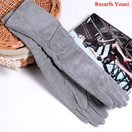 Opera Long Leather Gloves NZ - 2018 Fall Winter Fashion Women Pigskin Suede Genuine Leather Fold Long Glove Lady 30 40 50cm Black Pink Red Classic Luvas Mujer D18110705