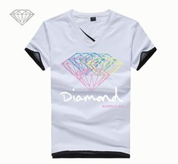 Discount diamond clothes - Casual Men T Shirt Skateboard Brand Clothing Fashion Short Sleeve T Shirt Diamond Letter Printed New Summer Cotton Stree
