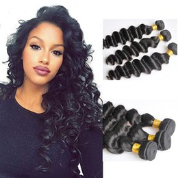 Peruvian Deep Curly Wavy Hair Canada - Peruvian More Wavy Loose Deep Curly Unprocessed Human Virgin Hair Weaves 8A Quality Remy Human Hair Extensions Dyeable 3bundles lot