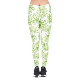 Discount hot girls yoga pants - Girl Leggings Monstera Green 3D Print Women Skinny Stretchy Gym Fitness Pants Yoga Spring Summer Autumn Soft Trousers Ho