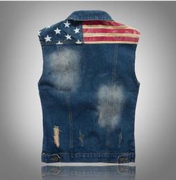 $enCountryForm.capitalKeyWord Australia - Wholesale- New Arrival Brand Mens Denim Vest Men Cowboy Sleeveless Vintage Jacket Tank Spring Stipe & Star flag washed vest M-XXXL