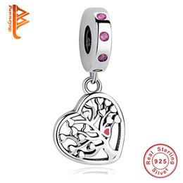 Discount tree love bracelets - BELAWANG New Fashion Pendant Pure 925 Silver Tree Of Life Charm Heart Charms In Beads Fit Pandora Charm Bracelet DIY Wom