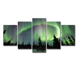 Chinese  Canvas Pictures Home Decor Framework HD Prints For Living Room Posters 5 Pieces Green Forest Aurora Landscape Paintings Wall Art manufacturers