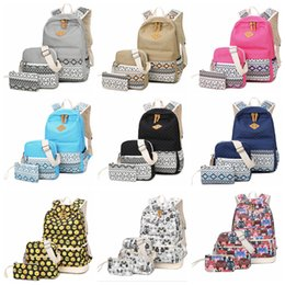 b287a777e5 9styles Fashion Emoji printed Backpack owl solid Canvas girl school Bag  outdoor travel fashion purse handbag school bag 3pcs set FFA651