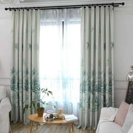 Chinese Modern Bamboo Leaves Window Printing Blackout Curtains For Living  Room Bedroom Polyester Curtain Window Decorative Fabric