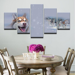 framed wolf wall decor Australia - Modern Canvas Pictures Living Room Wall Art 5 Piece Animal Cat Wolf Dog Poster Husky Meow Star Painting Printed Home Decor Frame