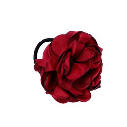 Fabric Flowers Hair Clip Australia - 1pc Beautiful Fabric Flower Hair Rose Flower Scrunchie Ponytail Hairband Hair Bands Rope Hair Clips Women Headwear