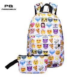 $enCountryForm.capitalKeyWord Canada - 2Pcs Nylon Waterproof Backpack Clutch Bag Fashion 3D Smile Print Travel School Bag Teenage Girls Boys Casual Shoulder Backpack
