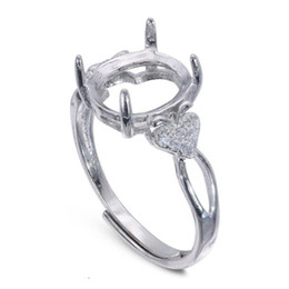 Semi Mount Ring Settings For Oval Stone With Apple Side CZ Blank Base Solid 925 Sterling Silver Women Jewelry Bride Bridesmaid Wedding Gifts on Sale