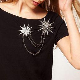 rhinestone collar blouse 2019 - Hot Crystal Chain Jewelry Rhinestone Star Brooch Snowflake Pins Blouse Collar Clip cheap rhinestone collar blouse