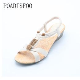 4c4d16b0a2d6a4 POADISFOO 2017 Bohemian Women Summer Sandals low Heel Flip Shoes With  Sunflower Beads Flat Shoes Size 36-40 .HYKL-1503