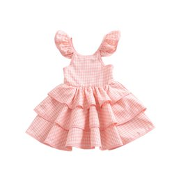 China Baby girls lattice dress 2018 summer Children Flying sleeves cake Tutu princess dress Plaid Kids Clothing C4562 supplier summer clothing kids baby child suppliers