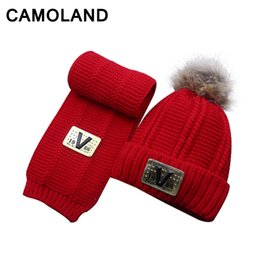 257d0201e77 Winter Set Children Fur PomPoms hat Kids Neck Warm Woolen Hat Thick velvet  Fleece Inside Knit Beanie   Scarf Boys Girls 4-8Y