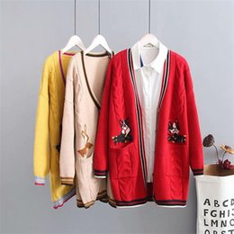 Plus size knitted wool women red   yellow   Khaki Cardigan jacket 2018  criss-cross autumn ladies sweater knitwear coat female 25a86312f