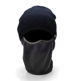 face covering hats NZ - Winter Ski Mask Knit Hat Face Cover Outdoor Stretch Windproof Cap- Best Fleece Cable Face Mask Scarf Skull Warmer for Skiing, Run 2018011805