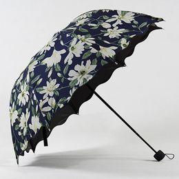 Nylon Coating Australia - Proof Sunshade Umbrellas Black Coating Female 2018 New Arrival High Quality Lily Pattern Women's Umbrella UV