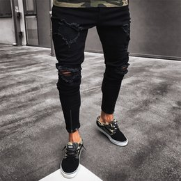 design jeans trousers 2019 - Men Jeans Stretch Destroyed Ripped Design Black Pencil Pants Slim Biker Trousers Hole Jeans Streetwear Swag Pants cheap