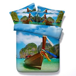 bedding linens sets UK - 3D ship boat Duvet Cover bedding sets queen scenery Bedspreads Holiday Quilt Covers Bed Linen Pillow Covers ocean beach theme pillow shams