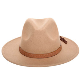 wide brimmed felt hat Australia - 2016 Autumn Winter Sun Hat Women Men Fedora Hat Classical Wide Brim Felt Floppy Cloche Cap Chapeau Imitation Wool Cap
