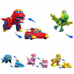 Chinese  Min Gogo Dino ABS Deformation Car Airplane Action Figures REX PING VIKI TOMO Transformation Dinosaur Toy Novelty Items CCA10538 50pcs manufacturers