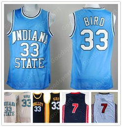 607bb184ec8 HOT INDIANA State College NCAA Stitched 33 Larry Bird Stitched embroidery  Swingman jerseys SHORTS SHIRTS cheap sport basketball KID YOUTH
