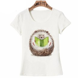 Chinese  2019 New Summer Women t-shirt Super Cute Hedgehog reading Print T-Shirt Funny Cartoon Design Girl White Casual Tops Woman Tees manufacturers