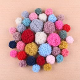 Wholesale MM MM MM Round Wool Felt Fur Balls handmade Button Patch Sticker Fit Girls Hair Jewelry Elastic Band DIY