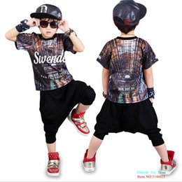 jazz boys clothes Canada - Causla Wear Clothing Sets Summer Boy Short Sleeve T-shirt Top Harem Pants 2 Pcs For Kids Girls Hip Hop Costume Jazz Dance Set