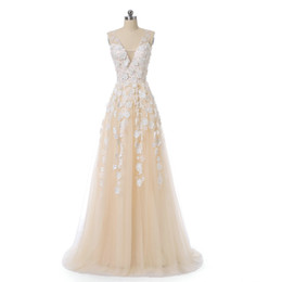 fancy prom dresses Australia - Fancy Champagne Long Prom Dresses With Pearls 3D White Flowers 2018 Sheer Deep V-Neck A Line Party Gowns Sleeveless Tulle Formal Dresses