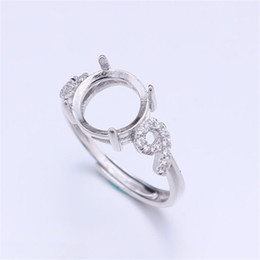 China Semi Mount Ring Settings For Round Stone With Side Number Nine CZ 8x8mm Solid 925 Sterling Silver Women Jewelry Bride Wedding Gifts cheap nine ring suppliers