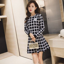 New Knitted Long -Sleeve Tracksuit Skirt Suits Women Runway Sweet Beads  Collar Sweater Crop Top A -Line Skirt Two Piece Set Female a3b6476df
