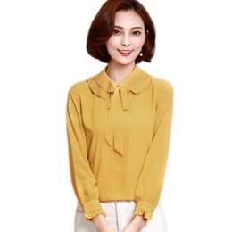 $enCountryForm.capitalKeyWord UK - Plus Size Autumn Women Chiffon Blouse Shirt Tops Double-Layer Neck Women Blouses Office Lady Blouse Long Sleeve Chiffon Shirt