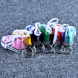 canvas shoe bags wholesale NZ - Cute Car Key Ring Canvas Keychains Car Key Acc mix color Bag Hanging Toys Shoes Key Ring