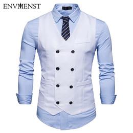 $enCountryForm.capitalKeyWord Australia - 2018 Causal Dress Vests For Men Slim Fit Suit Vest Male Double Breasted Waistcoat Gilet Homme Sleeveless Formal Business Jacket