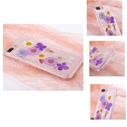 $enCountryForm.capitalKeyWord NZ - Real Dried Flower Soft Rubber TPU Back Cover Pressed Floral Gold Foil Embedded Bling Glitter Flexible Case For iPhone XS X 7 6 Plus OPP Bag