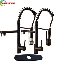 kitchen tap two faucet UK - Oil Rubbed Bronze Two Rotate Spout Pull Down Spring Kitchen Faucet Single Lever Bathroom Hot and Cold Water Mixer Taps