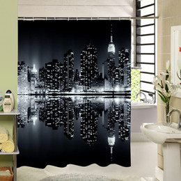 shower curtains modern 2019 - The Dark Night Modern City Scenery That Is Very Bright Waterproof Moldproof Shower Curtain Bathroom Curtain Set with Hoo