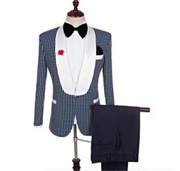 cb57befd1fb49f Polka Dots Pants Men NZ - Men s Polka Dots Groomsmen Shawl Lapel Suit  Bridegroom Wedding Prom