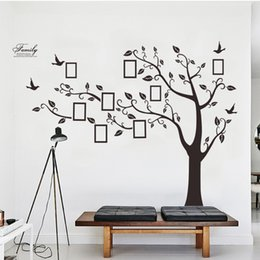 Cartoon Designs Wall Photos Australia - Best selling black removable memory tree photos tree wall stickers mural