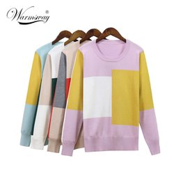 b3fa1c124d6 Women Sweater Fall Winter Contrast Color Patchwork Loose Long Sleeve Female  Soft Pullovers Casual Split Big Size Top B-162