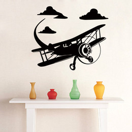 Airplane Art Australia - Funny Airplane Wall Stickers Wall Art Wall Paper For Living Room Kids Room Decoration Accessories Murals