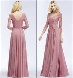 bc9431c4068 2018 New Elegant Cheap Bridesmaid Dresses Dusty Pink Country Maid of Honor  Gowns 3 4 Long Sleeve with Lace Appliques Size 2-16 CPS911